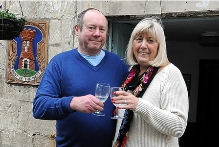 TOASTING SUCCESS:   Mike and Gill Brickell have settled  into the Royal Oak Inn.