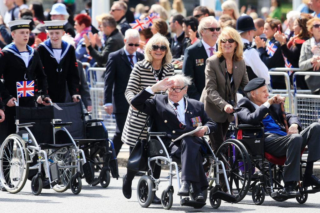 Veterans take part in the VE Day Parade in central London
