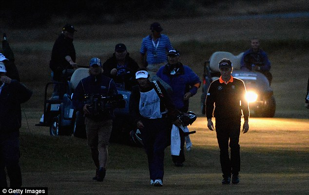 Darkness: Bernhard Langer of Germany and Mark Wiebe were unable to complete their play-off
