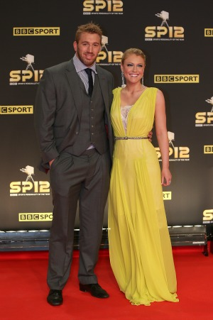 Chris Robshaw and girlfriend Camilla Kerslake arriving for the Sports Personality of the Year Awards 2012