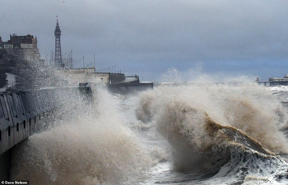 Western Power Distribution said more than 1,700 properties had been left without power on its network on Saturday morning (pictured: Blackpool on Saturday morning)