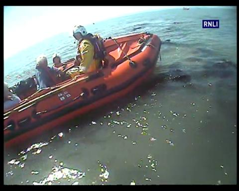 Porthcawl Lifeboats Launch to Vessel Aground Tusker Rock