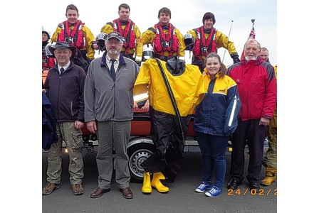 fundraising success  Members of the 5th/8th Port Talbot Scout Group with the lifeboat crew.