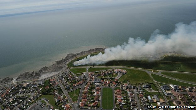Porthcawl fire from the air
