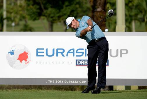 Graeme McDowell of Team Europe in action during the pro-am event prior to the EurAsia Cup