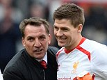 Delight: Steven Gerrard wants Liverpool manager Brendan Rodgers to sign a new deal