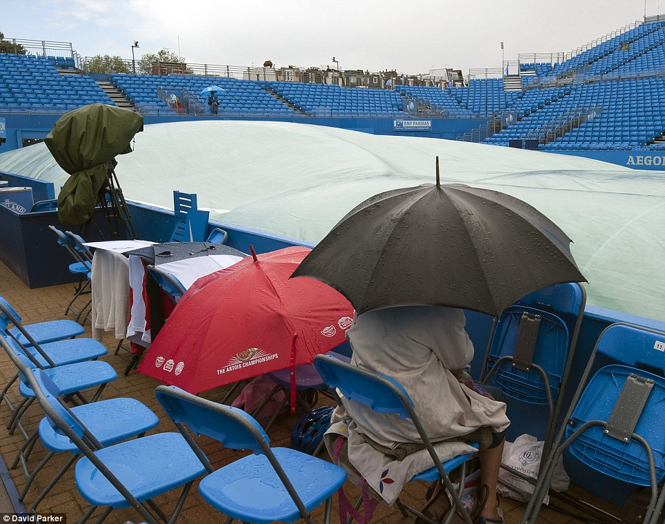 Damp: The poor weather led to the covers been brought out and the players returning to their dressing rooms