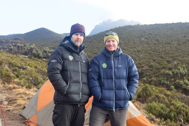 Martyn with Rhod Gilbert with Martyn Williams on the way up Kilimanjaro
