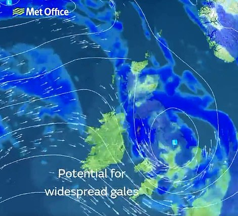A second map shows gales hitting large parts of the UK on Saturday as Storm Hannah takes hold