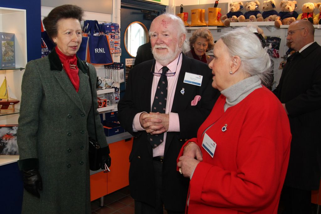 Princess Anne talking to John and Marj Abraham on a visit to Porthcawl RNLI Lifeboat Station