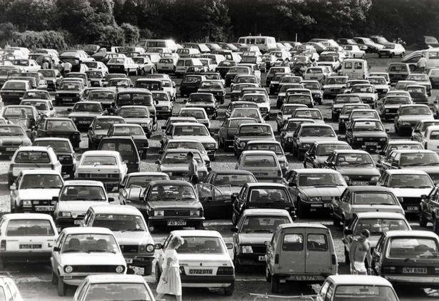 They came, they parked, they sunbathed. Gridlock in a Barry car park in 1988