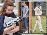 Separate exit: Jay Electronica, left, and Kate Goldsmith, middle, left his £1.8million apartment in Cadogan Square, Knightsbridge, separately while Ben Goldsmith, right, played at a cricket match nearby