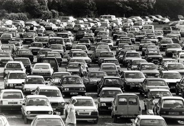 A crowded bank holiday car park at Barry Island in 1988