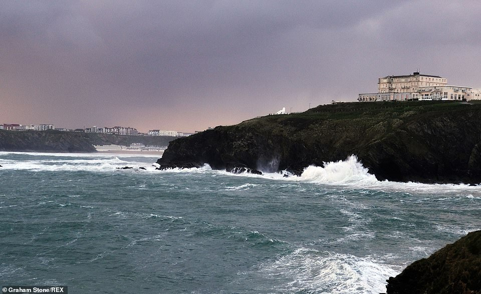 Storm Hannah pictured bringing in a big swell and large waves at the coast of Towan Head, Newquay, Cornwall on April 27