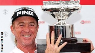 Miguel Angel Jimenez celebrates victory in the Hong Kong Open play-off