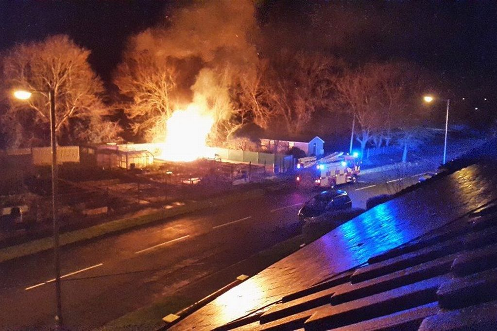 The Wildnerness Allotment Association's base on Heol y Goedwig, Porthcawl, has gone up in flames. Police are investigating