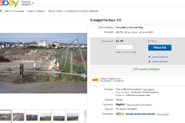 A disgruntled Porthcawl resident has put the dredged harbour silt up for sale on eBay for 99p