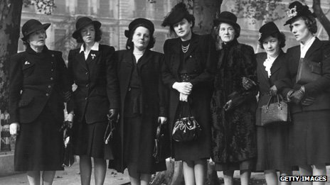 Left to right - Ella Gammon, Elsie Noel, Irene Davies, Eilleen Thomas, May Griffin, Diana Howell and Dorothy Court the sister of one of the victims.