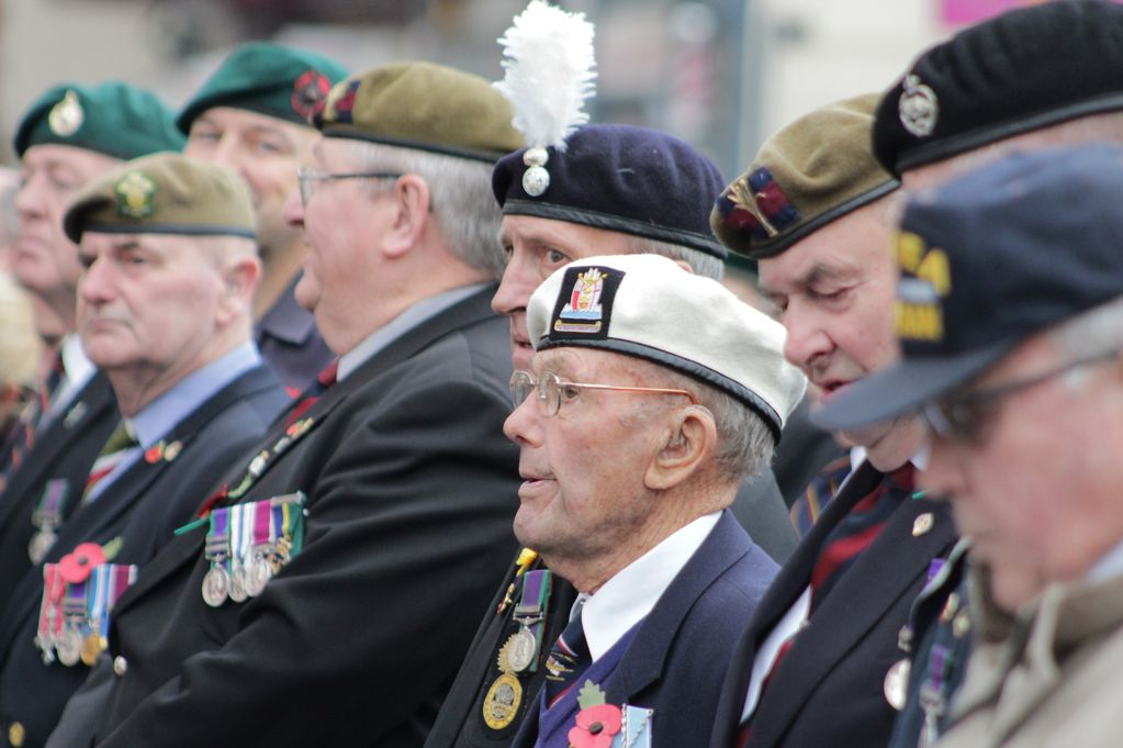 Remembrance Day service and parade, Bridgend. Veterans including Royal Navy Veteran Ken James (white beret)