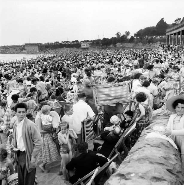 The holiday crowds which took Barry Island beach by storm in June 1960