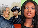 Troubled: William Balfour (left), the estranged husband of Jennifer Hudson's sister Julia is standing trial for murdering her relatives. Hudson (right) was the first witness to speak in court today (artist's impression, centre)