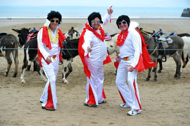 Elvis Presley Festival Porthcawl. Left to right, Nigel Giddins, Alun White, and Robert Brice.
